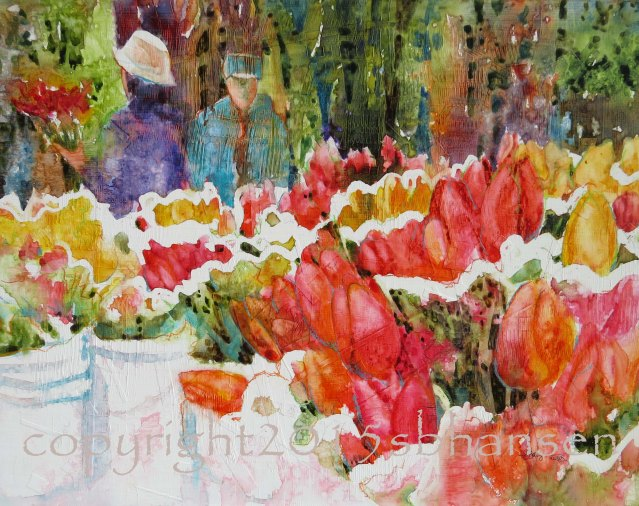 """Buckets of Tulips Saturday Market"" By Sarah B. Hansen"