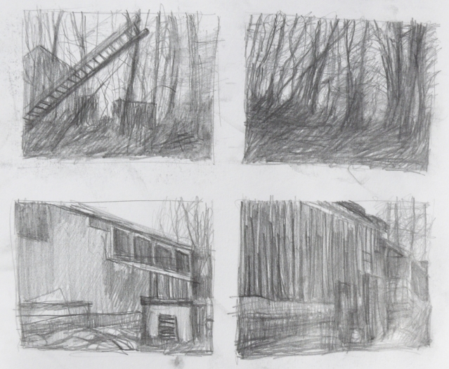 Directly observed compositional studies, graphite on paper, 2015